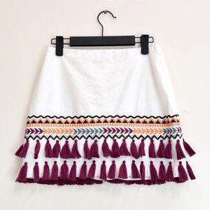 Tularosa Millie Embroidered Tassel Mini Skirt S